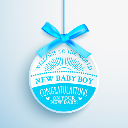 Bright blue congratulatory label for newborn baby boy