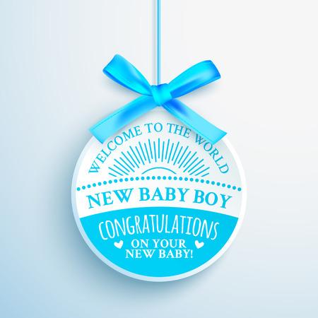 Bright blue congratulatory label for newborn baby boy