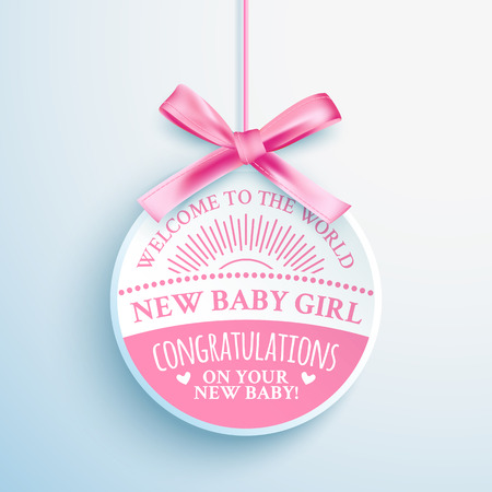 pink ribbons: Bright pink congratulatory label for newborn baby girl