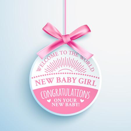 Brillante etichetta di congratulazioni rosa per neonato ragazza Archivio Fotografico - 46606799