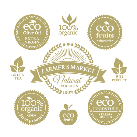 ecologically: Collection badges in retro style for farmers market with ecologically pure farm product