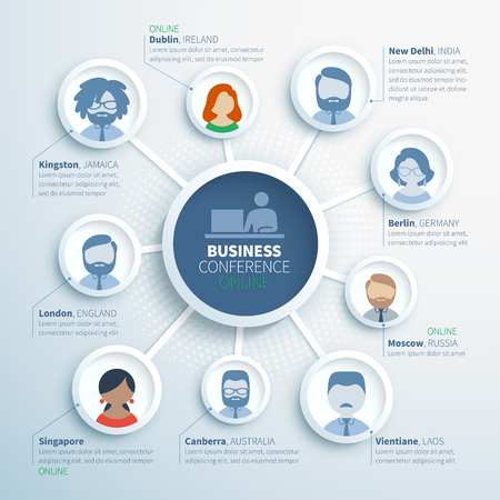 coworker banner: Colorful vector infographics of online business conference, communication of partners from different countries
