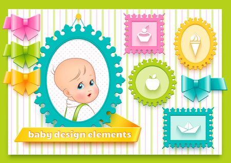 ribbons and bows: Collection of bright design elements such as frames, ribbons and bows for decoration child theme