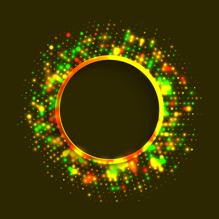 Abstract green and gold ringed frame of colorful disco lights shining and shimmering on the black background for New Year