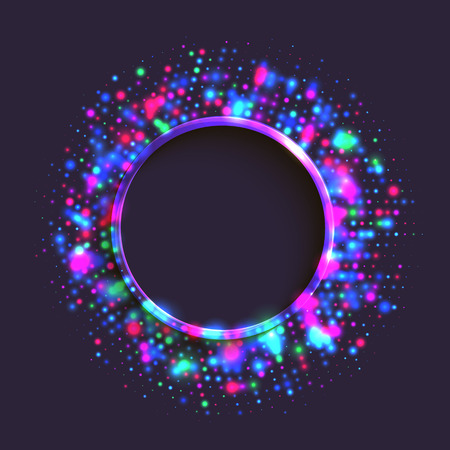 Abstract blue and purple circle frame of colorful disco lights shining and shimmering on the black background Illustration