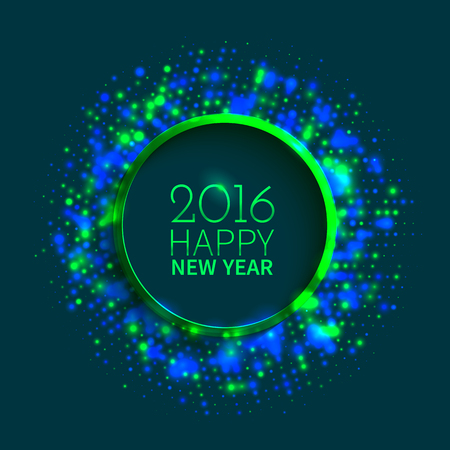 disco background: Abstract green and blue ringed frame of colorful disco lights shining and shimmering on the black background for New Year