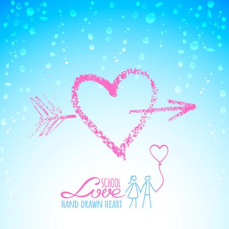 rain window: Bright pink lipstick heart with arrow on glass window in rain drops Illustration