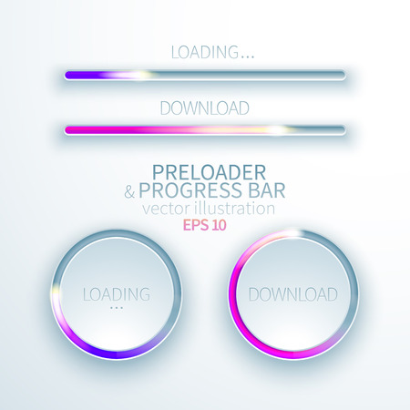 Bright collection of glowing icons preloaders and progress bars for loading items on white paper background Ilustracja