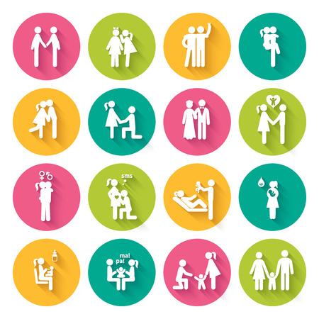 first steps: Set of 16 white flat icons illustrating different relationships between people in society and family in bright multi-colored circles with slanting shadows
