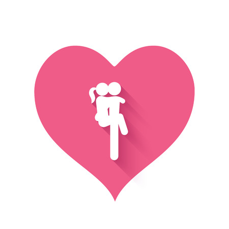 romantic sex: Bright pink heart shape icon people making love