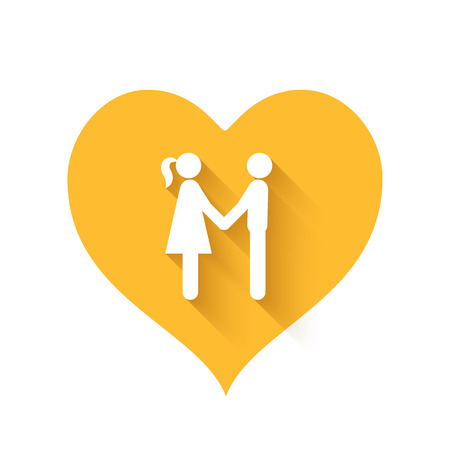 yellow heart: Bright yellow heart shape icons of love relationships Illustration