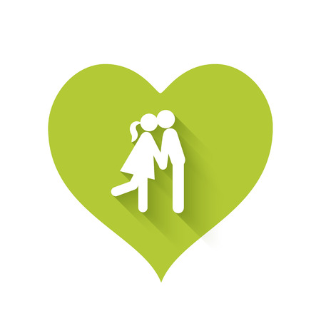 relationships: Bright green heart shape icons of love relationships