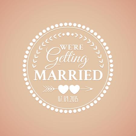 ビンテージ: 心と矢印でレトロなデザインのクラシックな透かし彫り結婚式ビンテージ バッジ  イラスト・ベクター素材