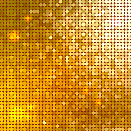 Bright shiny golden circle mosaic for festive disco background