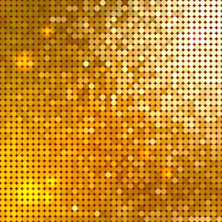 Bright shiny golden circle mosaic for festive disco background