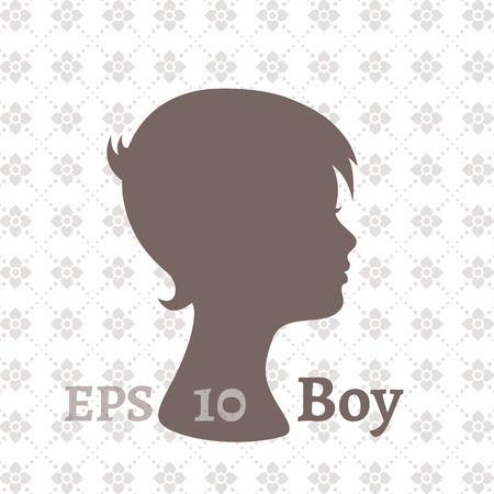 Dark silhouette profile of a young boy on a light background with a pattern