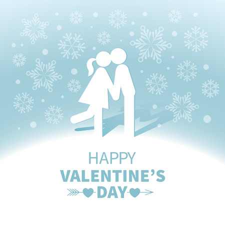 sweethearts: Light Valentines Day card with kissing sweethearts on the blue background with white snowflakes