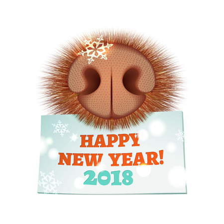 New Year greeting card with dog nose