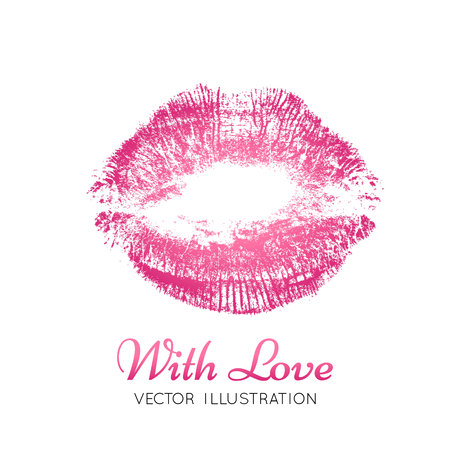 buss: A bright pink imprint of the lips Illustration