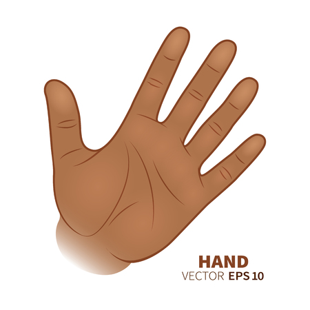 African-American hand palm symbol with five fingers isolated on white background. Vector illustration