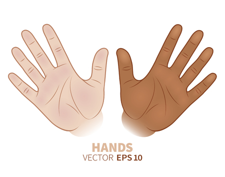 Black and white hands together. African-american and caucasian friendship symbol. Vector illustration