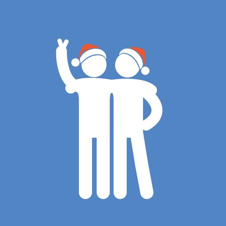Friendship icon. Two friends fun watching. Boys in a Santa hats