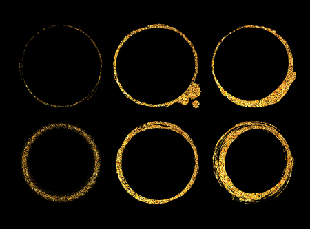 Collection of 6 gold shining round frames from glittering sparkles in the luxury style with space for text on a black background