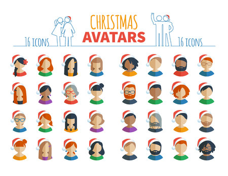 Set of 32 Christmas colorful flat user icons different characters, sex, age and race in santa hat for social networks avatars, and communication interface isolated on the white background for holidays Ilustracja