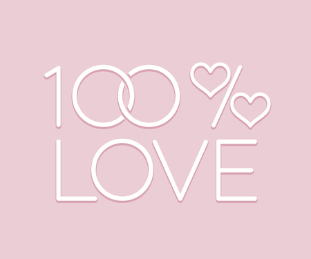 A sign of 100 percent love with wedding rings and a percent sign with hearts on a gently pink background color Ballet Slipper