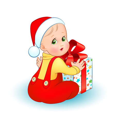 Bright christmas vector illustration. A cute baby in a suit and cap Santa is sitting near a gift box with a red bow isolated on a white background Ilustracja