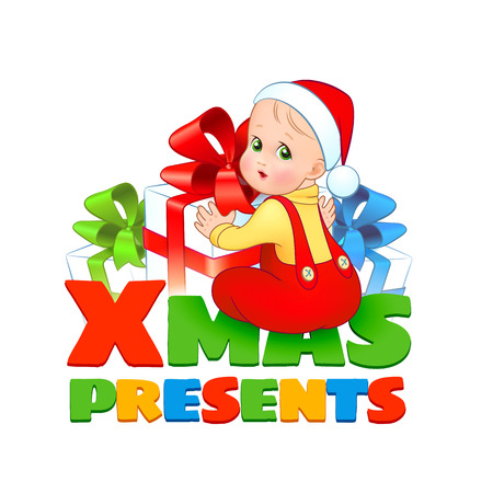Bright christmas vector illustration. A cute baby in a suit and cap Santa is sitting surrounded by gift boxes with a colorful bows isolated on a white background