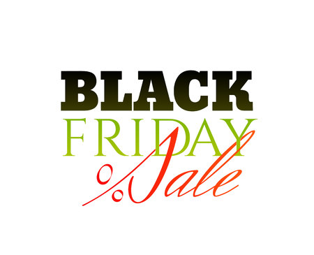 Inscription Black Friday Sale with a red percent sign isolated on the white background