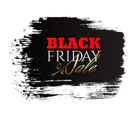 Banner with the inscription Black Friday Sale on the background of an ink brushstroke with a golden percent sign
