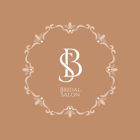 Elegant vintage emblem of the Bridal Salon with a monogram of letters B and S in a decorative retro frame on a trendy Butterum beige background Ilustracja
