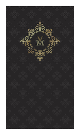 Black vertical rectangular cards with an ornamental embossed pattern and a gold heraldic logo with a monogram VM for advertising or packing ornaments, perfumes, wine or luxury products Ilustracja