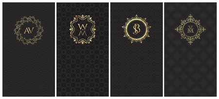 A collection of 4 black vertical rectangular cards with an ornamental embossed pattern and a gold heraldic logo with a monogram for advertising or packing ornaments, perfumes, wine or luxury products