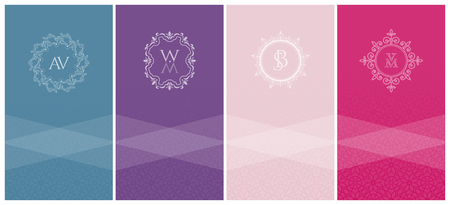 Set of 4 vertical  trendy colors cards with an ornamental embossed pattern and a white heraldic logo with a monogram for advertising or packing ornaments, perfumes, wine or wine or luxury products Illustration