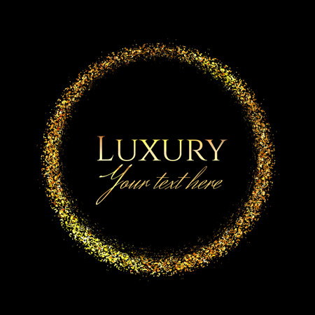Gold shining round frame in the luxury style with space for text on a black background.