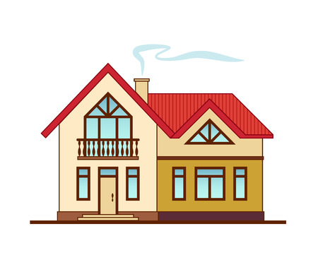 Bright cute country house isolated on white background. Two-storey cottage with a red roof, porch and balcony vector illustration. Ilustracja