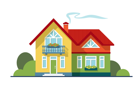 Colorful cute country house with shadows isolated on white background. Two-storey bright trendy color cottage with yellow and green facade, red roof, porch and balcony realistic vector illustration.