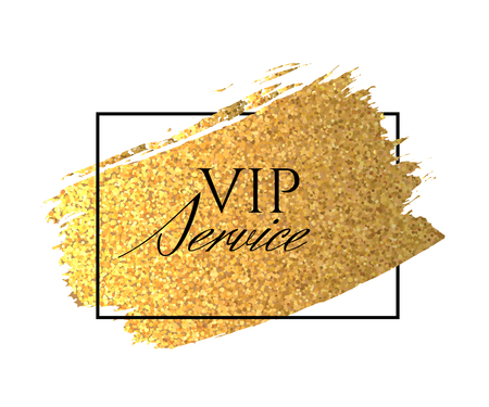 Bright golden brush stroke in a thin black frame with the word VIP service isolated on white background.