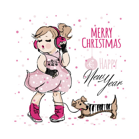 Pretty girl in pink dress and headphones listening music and dances near dachshund dog in a piano suit with keys under the falling confetti isolated on a white background. Christmas and New Year card