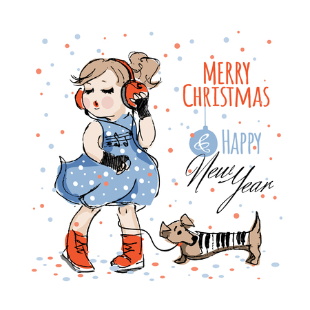 Pretty girl in blue dress and headphones listening music and dances near dachshund dog in a piano suit with keys under the falling confetti isolated on a white background. Christmas and New Year card Ilustracja
