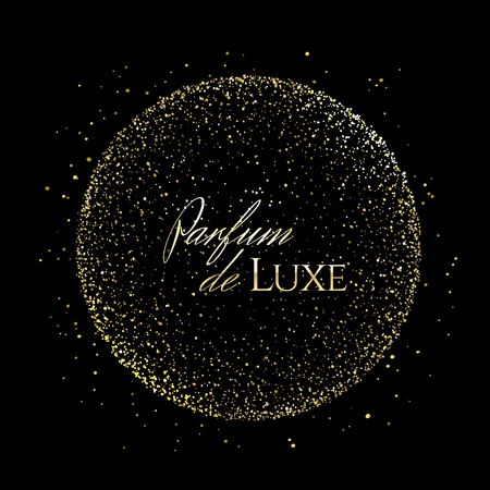 Golden shining scatter of spangles and glittering pollen in the sphere shape in space with french text Parfum de Luxe on a black background for advertising luxury perfume.