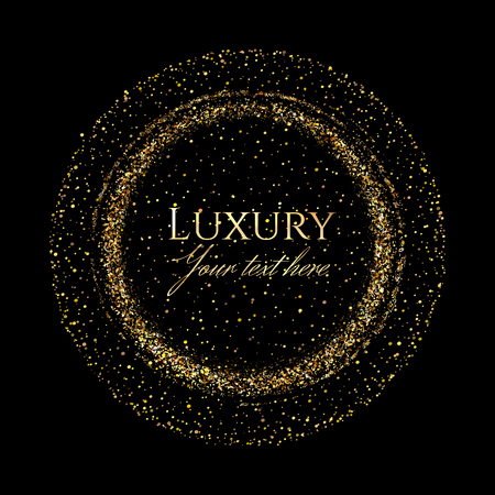 Gold shining scatter of spangles in the round frame shape in the luxury style with space for text on a black background. Ilustração