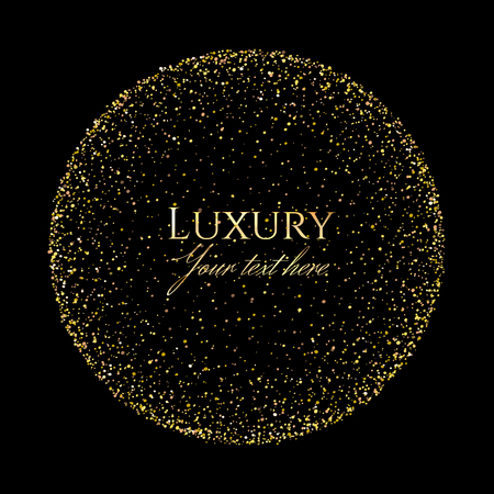 Gold shining scatter of spangles and shiny pollen in the sphere shape in the luxury style with space for text on a black background.