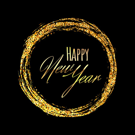 Gold shining brushstroke scatter of spangles in the round frame shape in the luxury style with inscription Happy New Year on a black background. Ilustração