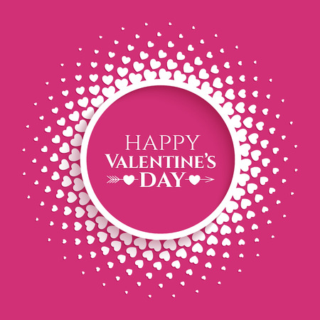 Bright halftone circle frame with white hearts on the trendy pink yarrow color background for Valentines day design.