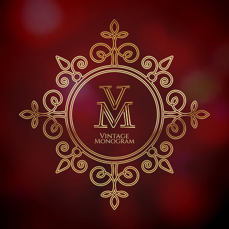 Luxury monogram of the letters V and M design templates for elegant icon and label vector illustration on a wine background.