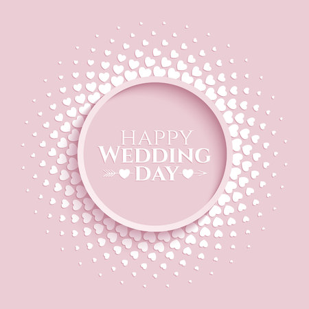 Delicate tender halftone circle frame with white hearts on the trendy pink background for wedding greeting card.